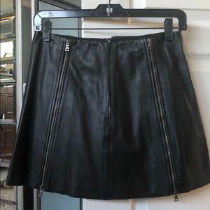 BCBG Myra black leather mini skirt BNWT sz xs